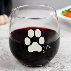 Libbey Stemless Wine Glass - Custom Paw Print & Name