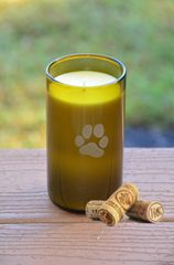 Paw Print Wine Bottle Candle