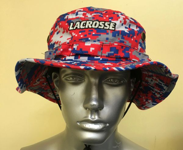 Red and Royal Blue Lacrosse Digital Camo Bucket Hat