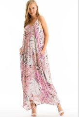 Spaghetti Strap Floral Print Low Back Loose Fit Harem Maxi Dress w/ Pockets