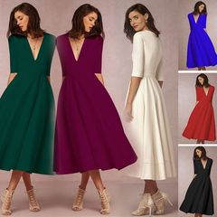 V Neck Swing Dress / Pockets
