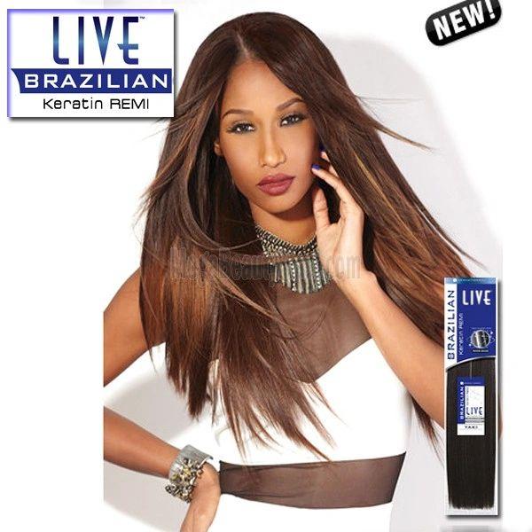 Sensationnel Remy Human Hair Weave LIVE Brazilian Keratin Remy Yaki 100% human