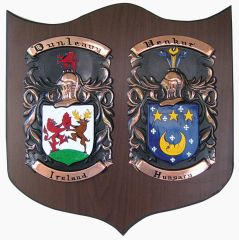 "Hand Painted Double Coat of Arms on Copper (Knight 14"" x 13.5"") on Walnut"