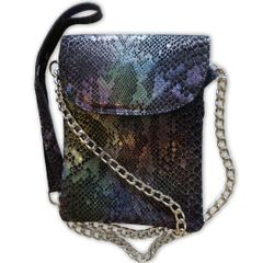 Leather Cell Phone Purse - Black/Purple