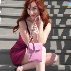 Leather Cell Phone Purse - Pink