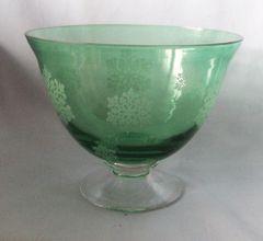 "Decorative Bowl: Beautiful Emerald Green Pedestal Glass Bowl 5 1/2"" Tall"
