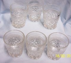 VINTAGE GLASSES; Set (6) Old Fashioned Wexford Glasses by Anchor Hocking