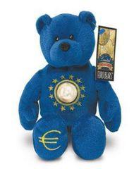 EURO COIN BEAR - BLUE BEAR Collectible Plush One Euro Coin Bear