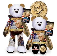 "GOLDEN DOLLAR COIN BEAR 9"" Presidential Collectible Dollar Bear - GEORGE WASHINGTON"