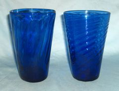 HAND-BLOWN GLASSES: Vintage Unique Cobalt Blue Glass Beverage Drinking Glass Hand-blown from State Fair