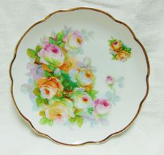 PLATE - Vintage China Collector Plate Germany Hand-painted Floral