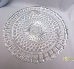 CAKE PLATE: Vintage Footed Clear Glass Cake Plate by Federal Glass #2889