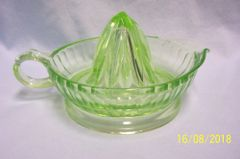 JUICER REAMER: Vintage Green Depression Glass (Uranium) Juicer Reamer Anchor Hocking Ribbed Pattern Unique Handle