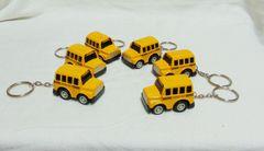 Diecast School Bus Keychains: Set of (6) Mini Modern Yellow School Bus Key Chains