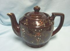 TEAPOT - Vintage Porcelain Brown Tea Pot, Teapot wiith Embossed Orange Flowers Gold Trim - Japan