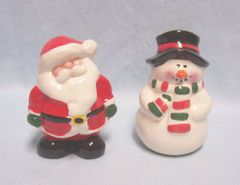 SALT & PEPPER SHAKERS: Cute Ceramic Christmas Salt & Pepper Shakers Santa (P) & Snowman (S)
