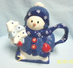 "TEAPOT: Snowman Tea pot, Teapot in Blue Cap & Sweater by Bico Ceramic 9"" Tall"