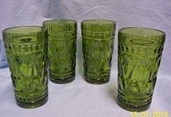 "ICE TEA GLASSES: Set (4) Ice Tea Glasses by Colony Park Lane 1950's Thumbprint Design 5.5"""