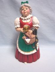 "CHRISTMAS FIGURINE: Mrs. Santa Claus Figurine with Cup of Sugar Handcrafted Hand-painted 9"" Tall"