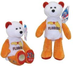 COIN BEAR #27 Florida State Quarter Coin Collectible Plush Bear LIMITED TREASURES