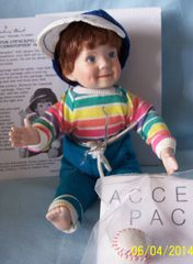 "COLLECTIBLE DOLLS: 1991 Collectible Boy Doll 6"" from Danbury Mint - Christopher with his Baseball"