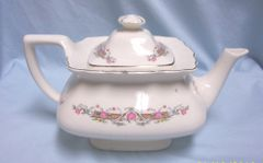 TEAP0T: Vintage Collectible Lido Teapot W S George Flower Rim Pattern China Teapot USA