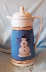COFFEE POT - Debbie Mumm Snowman Design Furio Screw on Lid Thermos White 11 3/4""