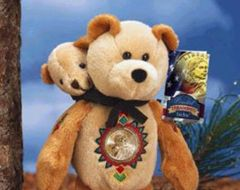 "SACAGAWEA GOLD COIN BEAR Sacagawea & Baby Pomp Dollar COLLECTIBLE PLUSH 9"" BEAR"