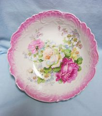 SERVING BOWL: Vintage Decorative Luminous Footed Serving Bowl Large Pink Border with Floral Center