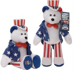 "Limited Treasures 9"" Stars & Stripes Plush Collectible Stuffed Plush Bear - Sam"