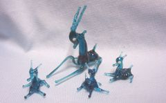 MINIATURES: Vintage Teal Color Blown Glass Mother Gazelle with (3) Babies Collectible Figurines