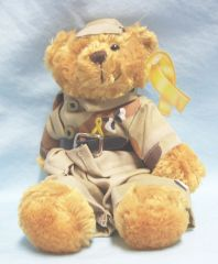 "PATRIOTIC BEAR: Cute Plush 'SUPPORT OUR TROOPS' Collectible 8 1/2"" Bear"