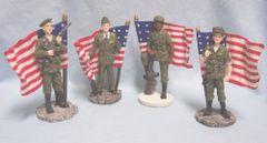 PATRIOTIC FIGURINES - Set (4) Patriotic Women Figurines in Military Uniforms with flags