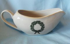Merry Brite COLLECTIBLE CHINA GRAVY BOAT Holiday Home Gravy Serving Bowl