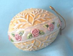 "EASTER EGG: Hand-painted Ceramic Easter Egg Tree Ornament Yellow with Pink Roses 2.5"" H"