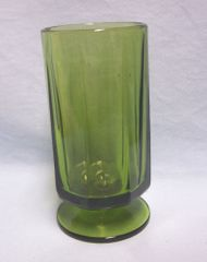 "VASE: Nice Multi-sided Footed Heavy Glass Vase Green 3"" Diameter 6"" Tall"