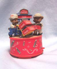 MUSIC BOX: Vintage Coca-Cola Wind Up Music Box Bears Hauling Coke Bottles from Bottler
