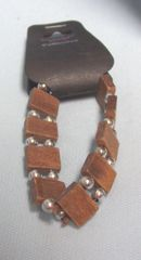 JEWELRY: Fashionable Stretch Bracelet with Brown Wooden Blocks & Silver Color Ball Beads