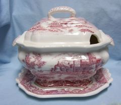 GRAVY BOAT/SOUP TUREEN: Vintage Red Transferware Gravy Boat, Lid, Underplate Japan