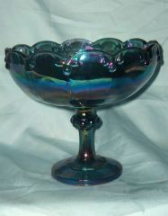 INDIANA GLASS CANDY DISH - Vintage Blue Carnival GLASS Pedestal CANDY BOWL