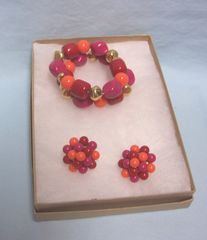 JEWELRY: Vintage Double Beaded Stretch Bracelet with Matching Pierced Earrings