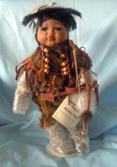 "COLLECTIBLE DOLLS: Porcelain Indian Doll Collectible Doll 12"" Boy Doll MIB Golden Keepsake - Ahiga"