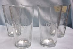 GLASSES: (4) Clear Etched Tumblers, Ice Tea, Water Glasses with BCC & Picture of Golf Couse
