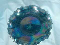 "DECORATIVE BOWL: Windsor-Blue Carnival Iridescent 10"" Crimped Round Bowl"