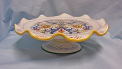 CAKE PLATE: Colorful Pedestal Cake Plate Serving Plate with Scalloped/Wavy Rim by Deruta Ceramiche Italy