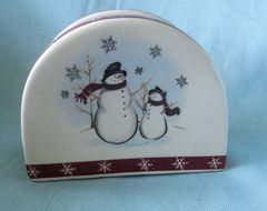 NAPKIN HOLDER: Collectible Napkin Holder with Snowmen from Royal Seasons Pattern: RN-1