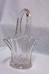 CANDY DISH: Vintage Clear Glass Flower Basket with Handle by Duncan Miller (#3)