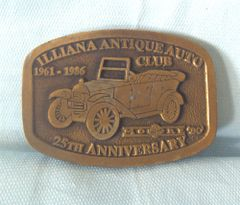 BELT BUCKLE: 25th anniversary Illiana Antique Auto Clue Brass Belt Buckle Embossed Antique Car on Front