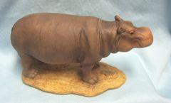 "MOTHER HIPPO ANIMAL FIGURINE - Collectible Mother Hippopotamus Wildlife Figurine 9"" L x 4.5"" H"