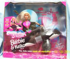 COLLECTIBLE BARBIE DOLLS: Barbie & Keiko Gift Set with Magical wet suit & Keiko with sounds & squirts water by Mattel